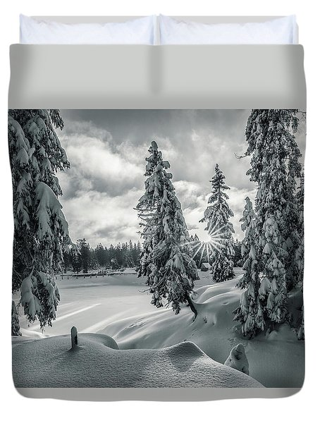 Winter Wonderland Harz In Monochrome Duvet Cover by Andreas Levi