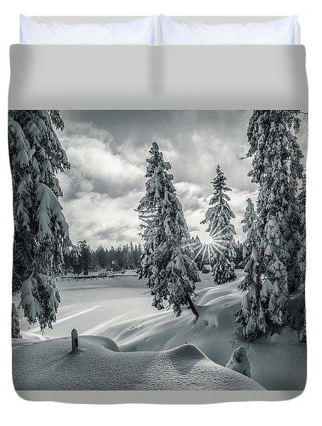 Winter Wonderland Harz In Monochrome Duvet Cover