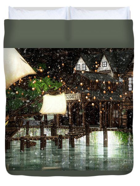 Wintery Inn Duvet Cover