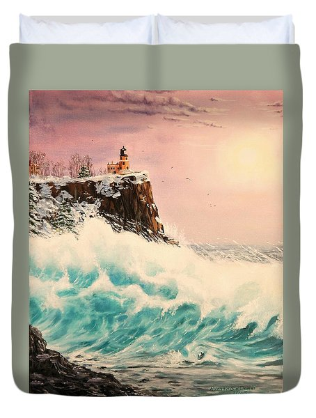 Wintery Northern Lighthouse  Duvet Cover