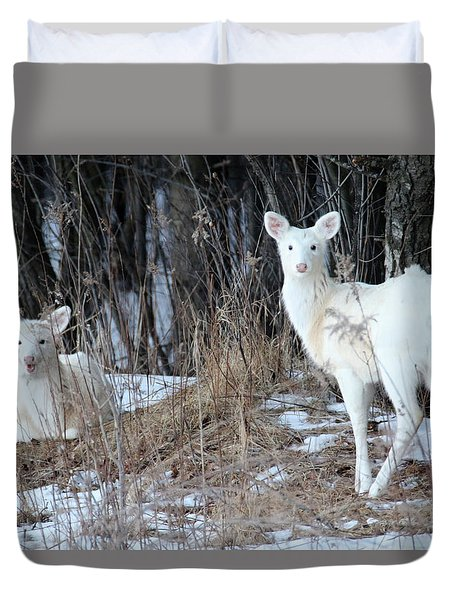 Wintery White Duvet Cover by Brook Burling