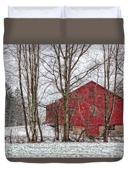 Duvet Cover featuring the photograph Wintry Barn by Skip Tribby