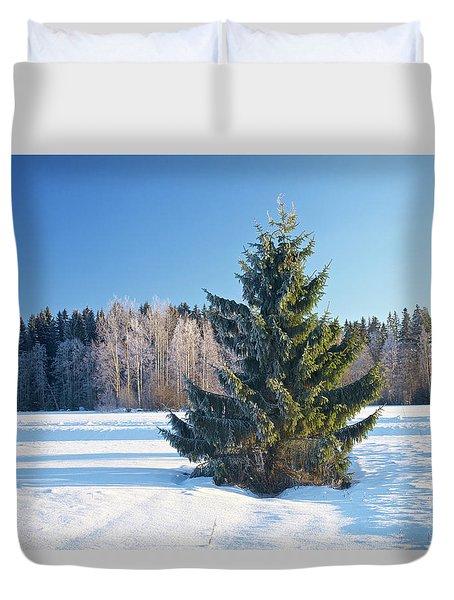 Wintry Fir Tree Duvet Cover by Teemu Tretjakov