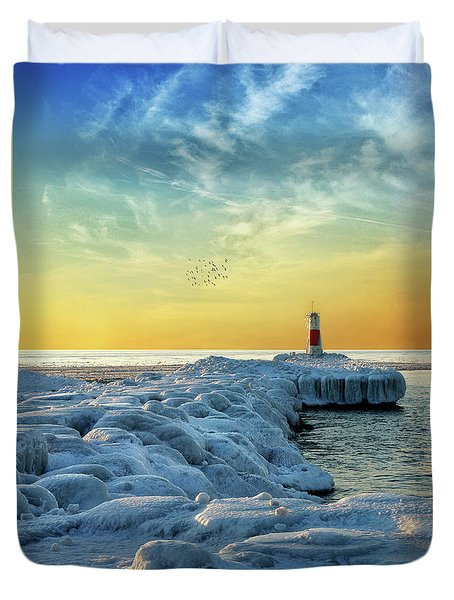 Wintry River Channel Duvet Cover