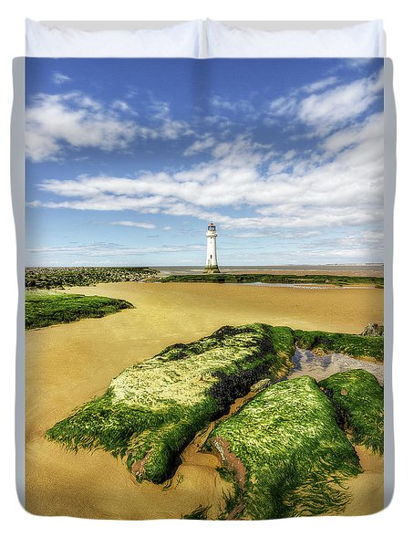 Duvet Cover featuring the photograph Wirral Lighthouse by Ian Mitchell