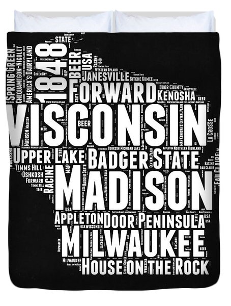 Wisconsin Black And White Word Cloud Map Duvet Cover