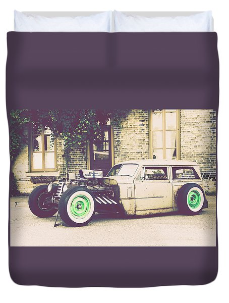Duvet Cover featuring the photograph Wisconsin State Journal Ratrod by Joel Witmeyer