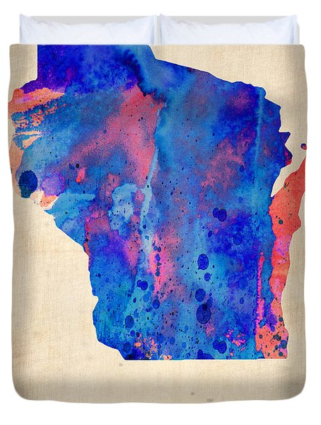Wisconsin Watercolor Map Duvet Cover by Naxart Studio