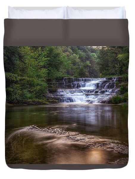 Duvet Cover featuring the photograph Wiscoy Falls by Mark Papke