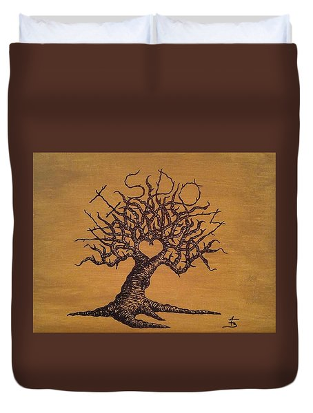 Duvet Cover featuring the drawing Wisdom Love Tree by Aaron Bombalicki