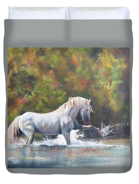 Duvet Cover featuring the painting Wisdom Of The Wild by Karen Kennedy Chatham
