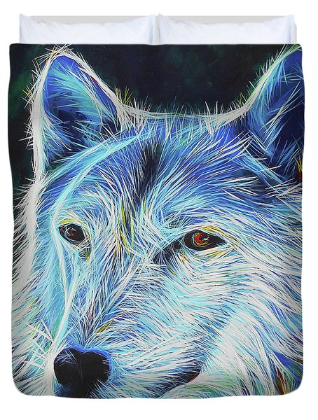 Wise White Wolf Duvet Cover