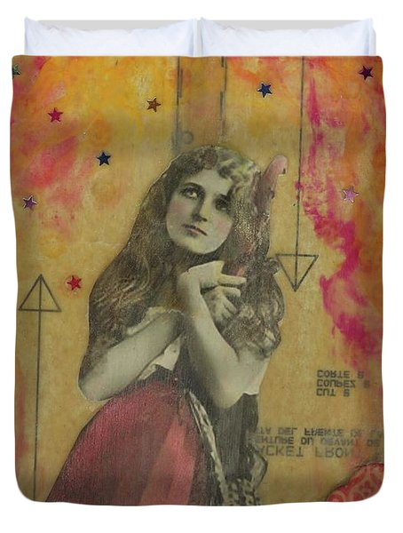 Duvet Cover featuring the mixed media Wish Upon A Star by Desiree Paquette