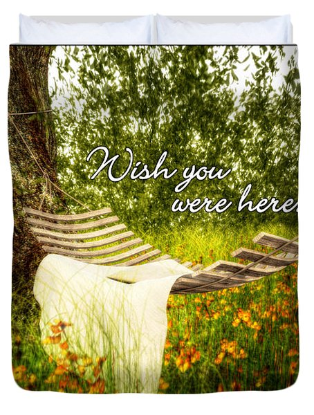 Wish You Were Here 140629 Postcard Style Duvet Cover
