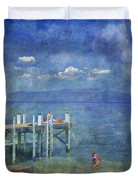 Duvet Cover featuring the photograph Wish You Were Here Chambers Landing Lake Tahoe Ca by David Zanzinger
