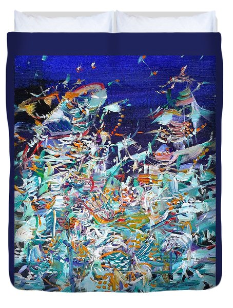 Duvet Cover featuring the painting Wishes by Fabrizio Cassetta