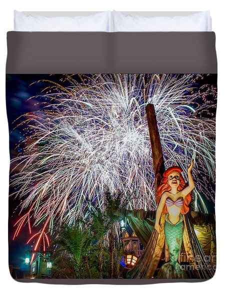 Wishes Over Prince Eric's Castle Duvet Cover