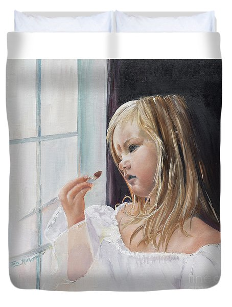 Duvet Cover featuring the painting Wishful Thinking - Megan - Signed by Jan Dappen