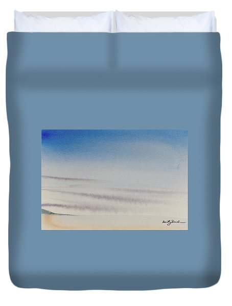 Wisps Of Clouds At Sunset Over A Calm Bay Duvet Cover
