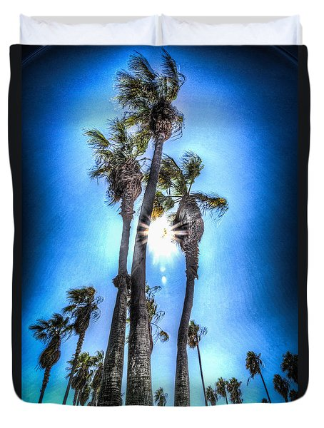 Duvet Cover featuring the photograph Wispy Palms by T Brian Jones