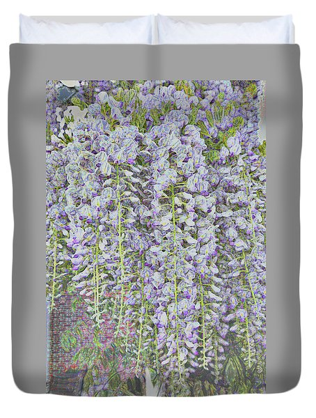 Duvet Cover featuring the photograph Wisteria Before The Hail by Nareeta Martin