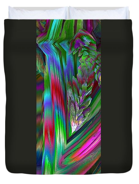 Duvet Cover featuring the digital art Wisteria Fractal Flower Spray Abstract by Renee Trenholm