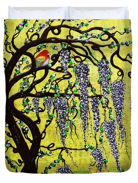 Duvet Cover featuring the mixed media Wisteria Joy by Natalie Briney