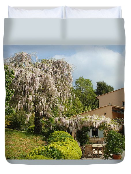 Duvet Cover featuring the photograph Wisteria by Richard Patmore