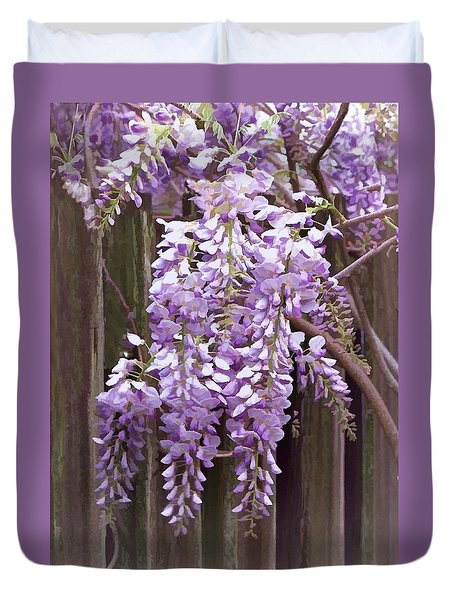 Duvet Cover featuring the photograph Wisteria Show by Bonnie Willis