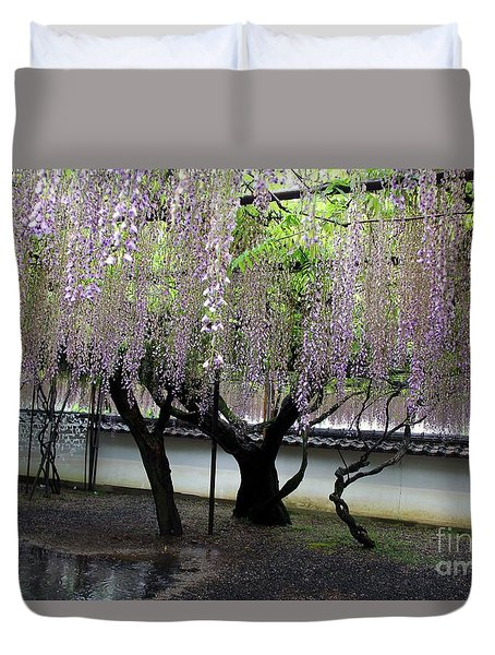 Duvet Cover featuring the photograph Wisteria by Yumi Johnson