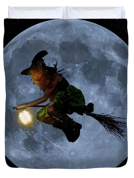 Witch Flying At Full Moon. Duvet Cover