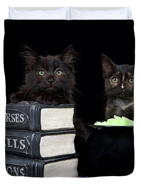 Witch Kittens Halloween Fun Duvet Cover