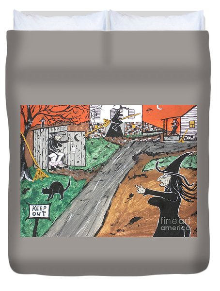 Duvet Cover featuring the painting Witches Outhouse by Jeffrey Koss