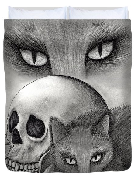 Duvet Cover featuring the drawing Witch's Cat Eyes by Carrie Hawks
