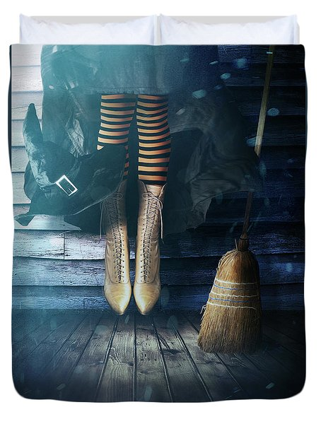 Witch's Legs With Broom Duvet Cover by Sandra Cunningham
