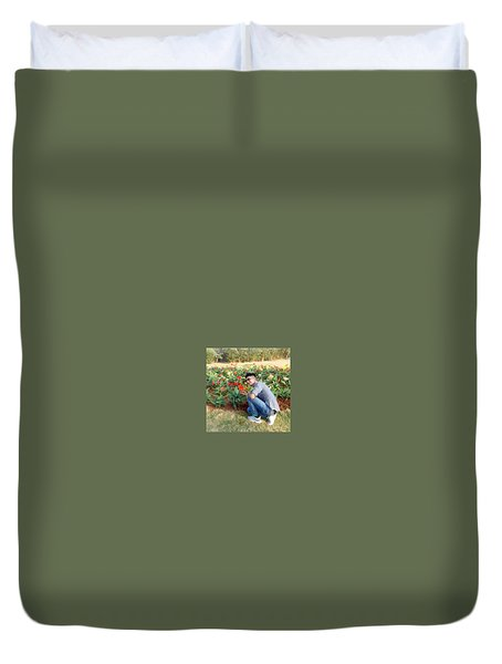 With D Lap Of Nature Duvet Cover by Madhusudan Bishnoi