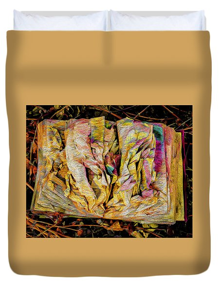 Within Pages Of Gold Duvet Cover