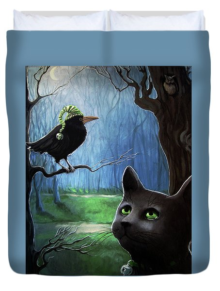 Duvet Cover featuring the painting Wit's End - Winter Nightime Forest by Linda Apple
