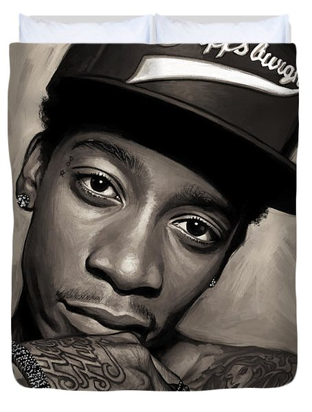 Duvet Cover featuring the painting Wiz Khalifa Artwork  by Sheraz A