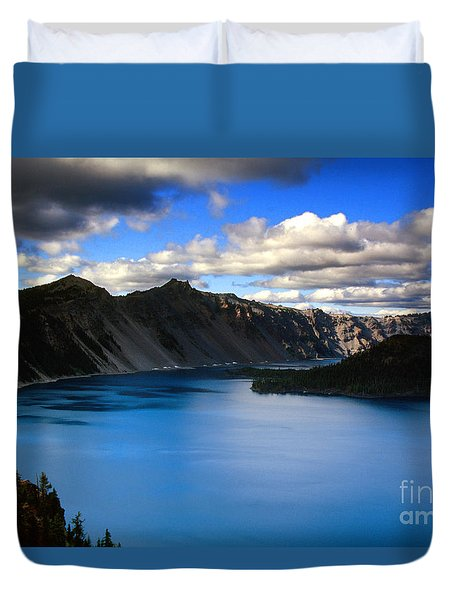 Wizard Island Stormy Sky- Crater Lake Duvet Cover