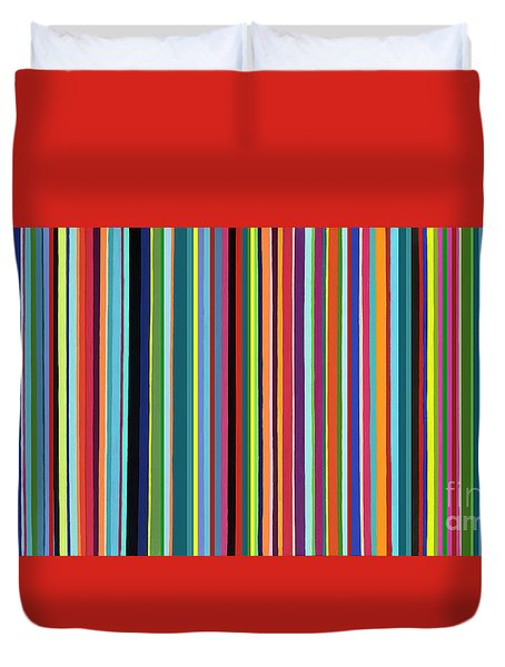 Duvet Cover featuring the painting Walk The Line by Carla Bank