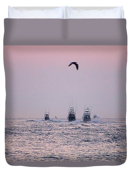 Duvet Cover featuring the photograph Wmo 2018 Under Pink Skies by Robert Banach