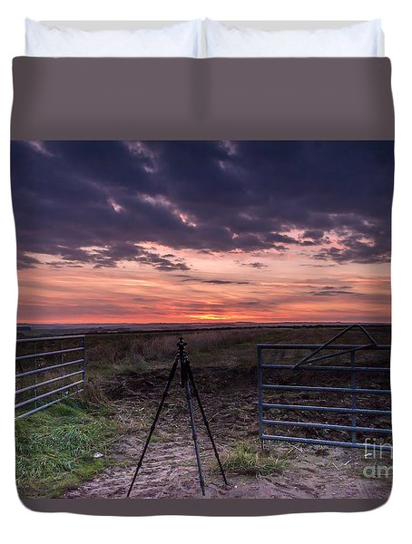 Wolds Sunset 2 Duvet Cover by David  Hollingworth