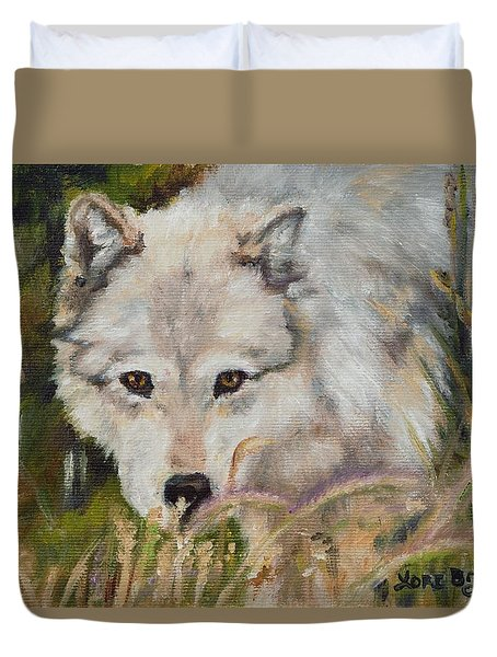 Wolf Among Foxtails Duvet Cover