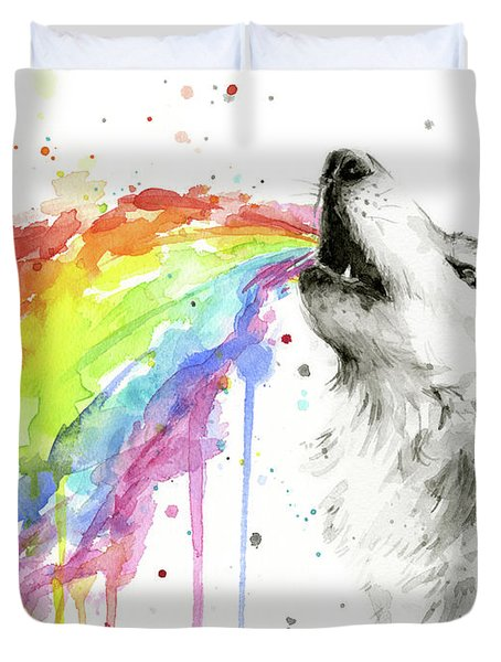 Wolf And Rainbow  Duvet Cover
