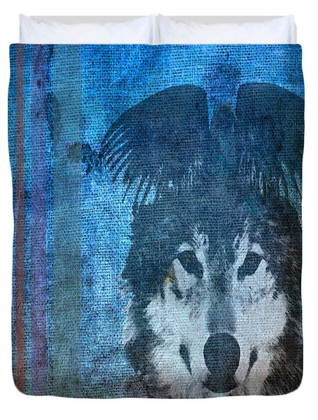 Wolf And Raven Duvet Cover