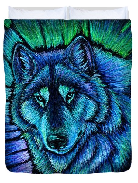 Wolf Aurora Duvet Cover