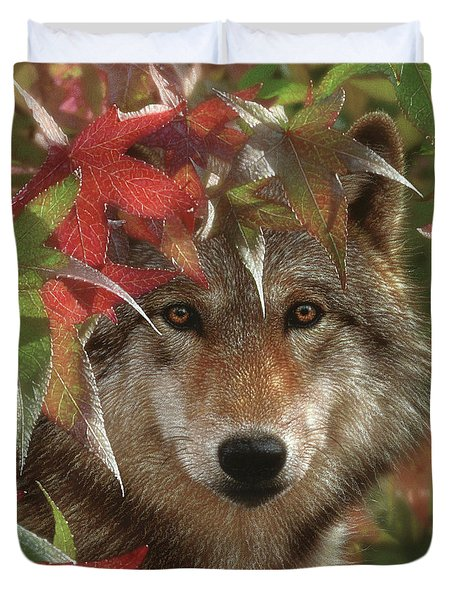 Wolf - Autumn Encounter Duvet Cover