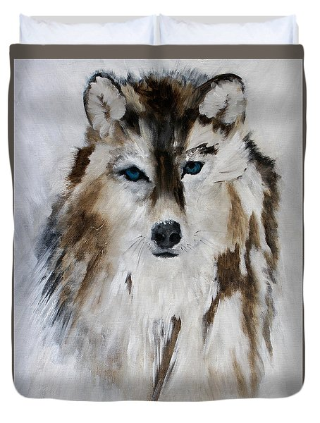 Duvet Cover featuring the painting Wolf - Blue Star by Barbie Batson