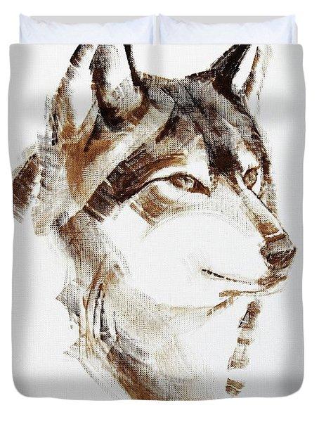 Wolf Head Brush Drawing Duvet Cover